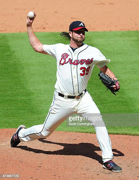 Jason Grilli of the Atlanta Braves throws a ninth inning pitch against the Milwaukee Brewers at Turner Field on May 24 2015 in Atlanta Georgia