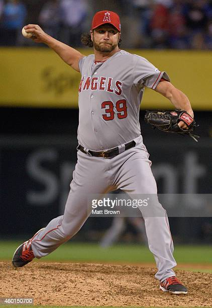 Jason Grilli of the Los Angeles Angels of Anaheim pitches during game 3 of the American League Division Series against the Kansas City Royals on...