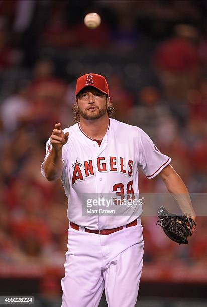 Jason Grilli of the Los Angeles Angels of Anaheim throws the ball during the game against the Miami Marlins on August 26 2014 at Angel Stadium of...