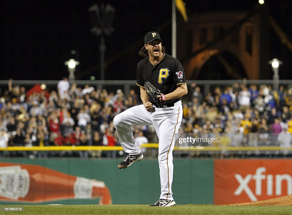 Jason Grilli #39 of the Pittsburgh Pirates celebrates after closing out the game against the Washington Nationals on May 3, 2013 at PNC Park in Pittsburgh, Pennsylvania. The Pirates defeated the Nationals 3-1.