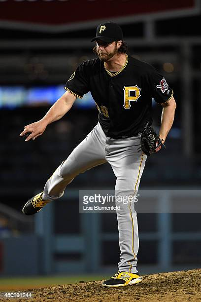 Jason Grilli of the Pittsburgh Pirates pitches against the Los Angeles Dodgers at Dodger Stadium on June 1 2014 in Los Angeles California