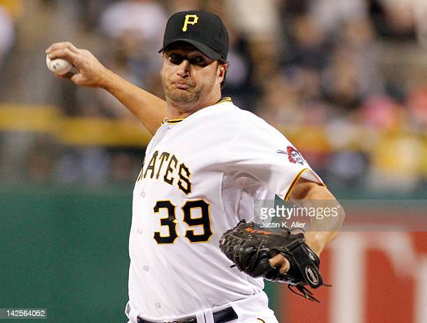 Jason Grilli of the Pittsburgh Pirates pitches against the Philadelphia Phillies during the game on April 7 2012 at PNC Park in Pittsburgh...