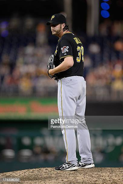 Jason Grilli of the Pittsburgh Pirates pitches against the Washington Nationals in the ninth inning during the game at Nationals Park on July 22 2013...