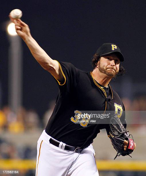 Jason Grilli of the Pittsburgh Pirates pitches in the ninth inning against the Philadelphia Phillies during the game on July 3 2013 at PNC Park in...