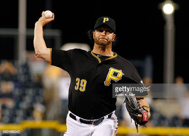 Jason Grilli of the Pittsburgh Pirates pitches in the ninth inning against the Chicago Cubs during the game at PNC Park on June 11 2014 in Pittsburgh...