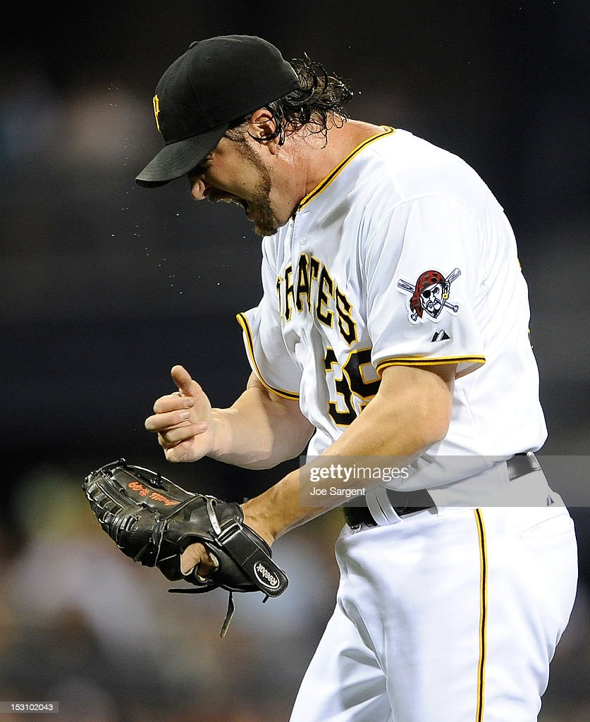 Jason Grilli #39 of the Pittsburgh Pirates reacts after striking out Chris Heisey #28 of the Cincinnati Reds on September 29, 2012 at PNC Park in Pittsburgh, Pennsylvania. Pittsburgh won the game 2-1.