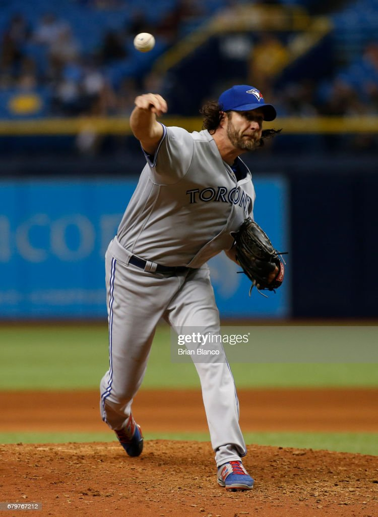 Jason Grilli #37 of the Toronto Blue Jays pitches during the eighth inning of a game Tampa Bay Rays on May 6, 2017 at Tropicana Field in St. Petersburg, Florida.