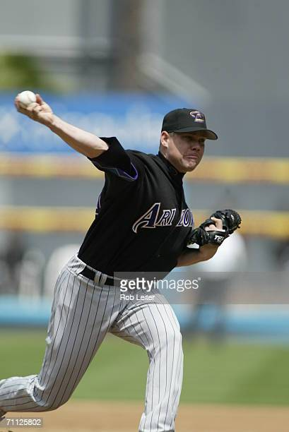 Jason Grimsley of the Arizona Diamondbacks pitches during the game against the Los Angeles Dodgers at Dodger Stadium in Los Angeles California on...