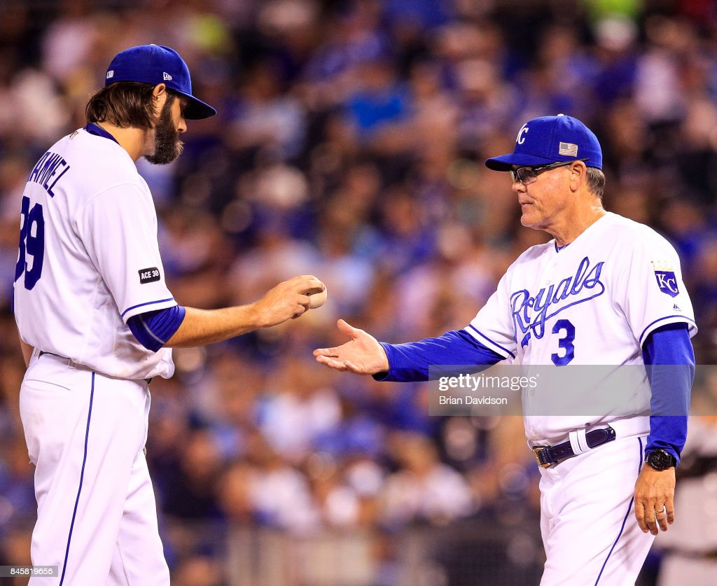 CITY, MO - Jason Hammel #39 of the Kansas City Royals is taken out of the game against the Chicago White Sox in the fourth inning by manager Ned Yost #3 at Kauffman Stadium on September 11, 2017 in Kansas City, Missouri.