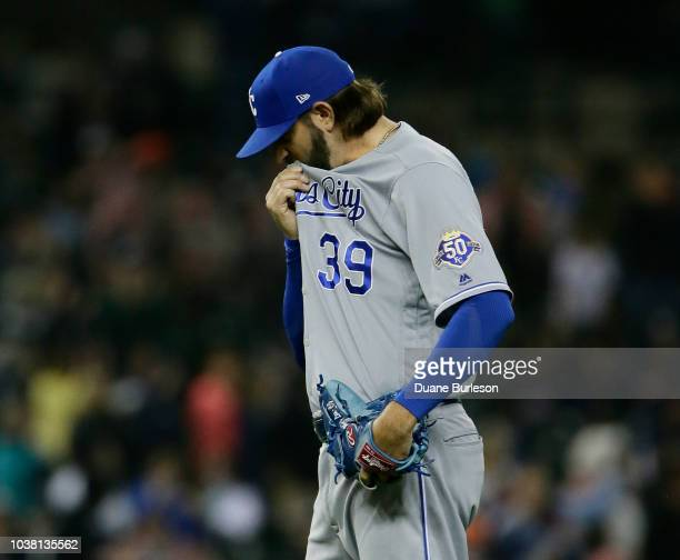 Jason Hammel of the Kansas City Royals reacts after giving up a tworun home run to Mikie Mahtook of the Detroit Tigers during the eighth inning at...