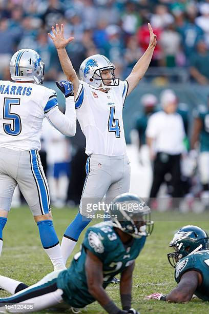 Jason Hanson of the Detroit Lions celebrates after kicking a 45-yard field goal in overtime against the Philadelphia Eagles at Lincoln Financial...