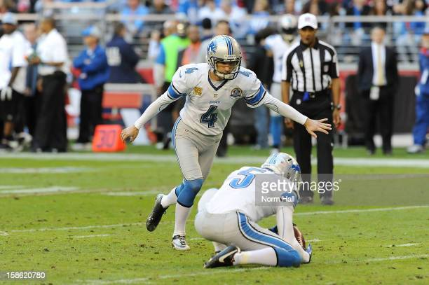 Jason Hanson of the Detroit Lions gets ready to attempt a field goal against the Arizona Cardinals at University of Phoenix Stadium on December 16,...