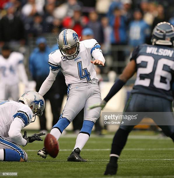 Jason Hanson of the Detroit Lions kicks a 50-yard field goal in the fourth quarter against the Seattle Seahawks on November 8, 2009 at Qwest Field in...