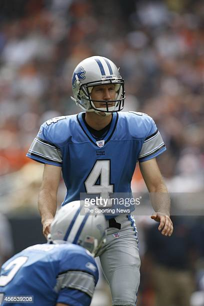 Jason Hanson of the Detroit Lions kicks a field goal during a game against the Chicago Bears on September 17, 2006 at Soldier Field Stadium in...