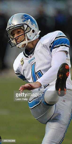 Jason Hanson of the Detroit Lions kicks a field goal during the game against the Oakland Raiders at O.co Coliseum on December 18, 2011 in Oakland,...