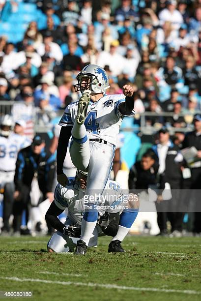 Jason Hanson of the Detroit Lions kicks a field goal on hold by Nick Harris during a game against the Carolina Panthers on November 16, 2008 at the...