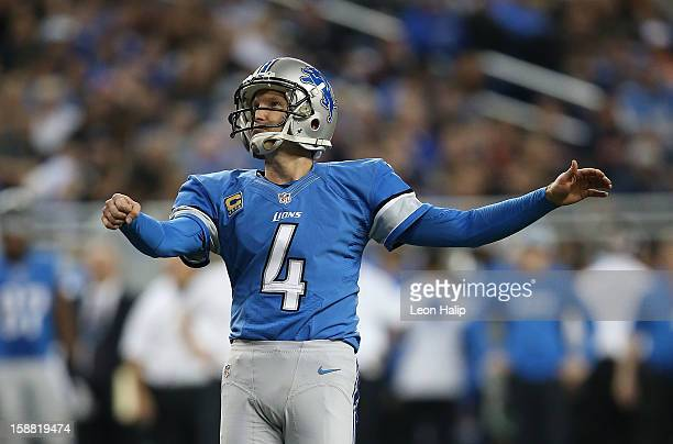 Jason Hanson of the Detroit Lions kicks an extra point during the third quarter of the game against the Chicago Bears at Ford Field on December 30,...