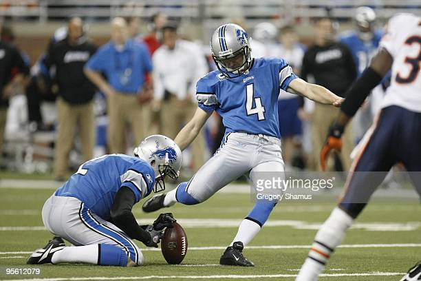 Jason Hanson of the Detroit Lions kicks during the game against the Chicago Bears on January 3, 2010 at Ford Field in Detroit, Michigan.