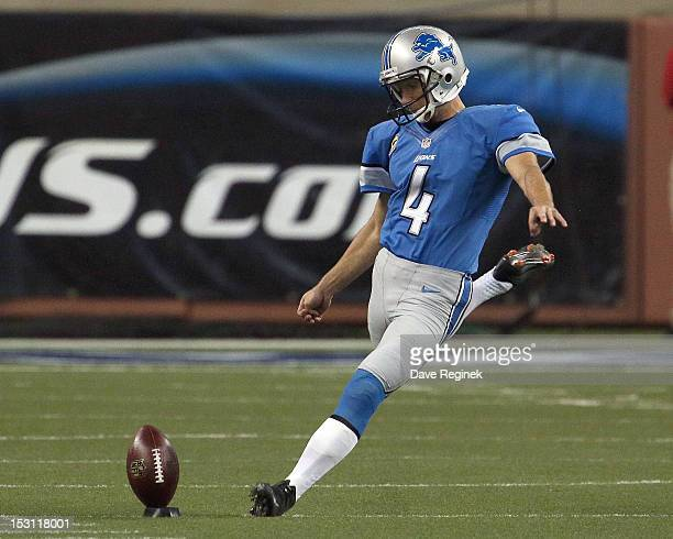 Jason Hanson of the Detroit Lions kicks off the football to start the game against the Minnesota Vikings at Ford Field on September 30, 2012 in...