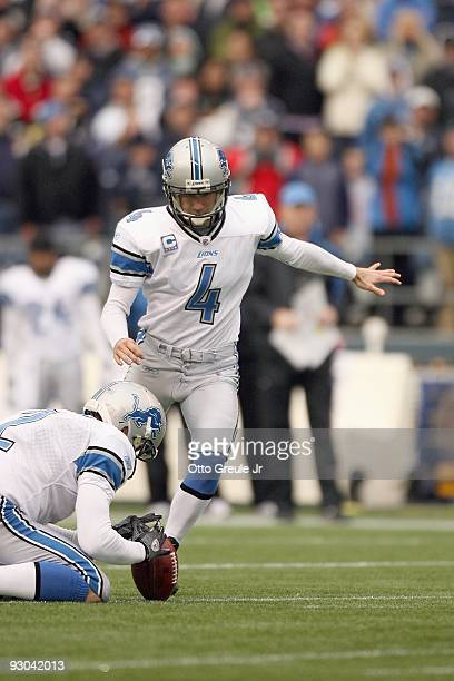 Jason Hanson of the Detroit Lions kicks the field goal during the game against the Seattle Seahawks on November 8, 2009 at Qwest Field in Seattle,...