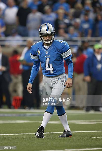 Jason Hanson of the Detroit Lions lines up a field goal attempt during the game against the Houston Texans at Ford Field on November 22, 2012 in...