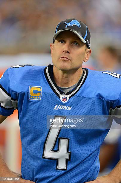Jason Hanson of the Detroit Lions looks on against the Atlanta Falcons during the game at Ford Field on October 23, 2011 in Detroit, Michigan. The...