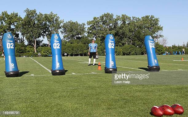 Jason Hanson of the Detroit Lions waits for the start of the morning practice session on July 29, 2012 in Allen Park, Michigan.
