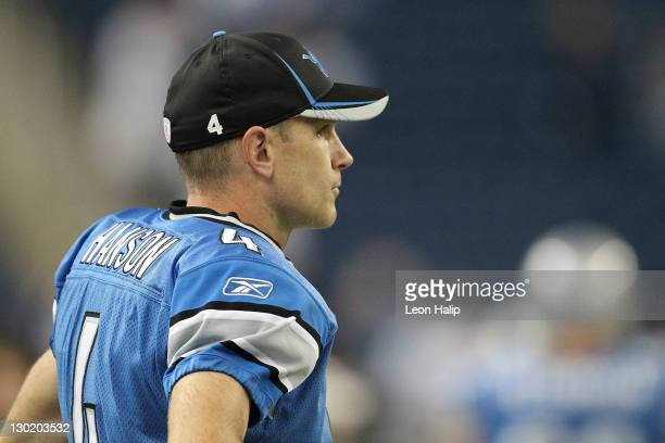 Jason Hanson of the Detroit Lions watches the pre-game warm ups from the sidelines prior to the start of the game against the Atlanta Falcons at Ford...