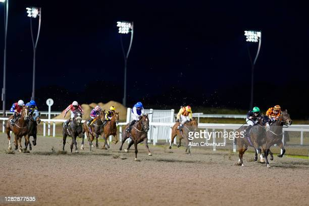 Jason Hart riding Indian Pursuit win The tote Placepot Your First Bet Handicap at Chelmsford City Racecourse on October 29, 2020 in Chelmsford,...
