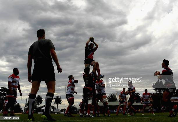 Jason Havea of the Melbourne Rising catches the ball from a line out during the round six NRC match between Melbourne and Canberra on October 8 2017...