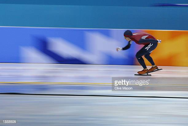 Jason Hedstrand of the United States competes in the men's 10000m speed skating event during the Salt Lake City Winter Olympic Games on February 22...