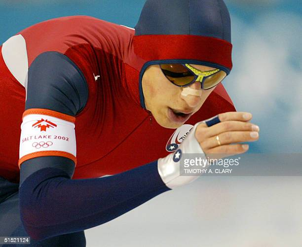 Jason Hedstrand skates in the men's 10000m speedskating race at the Utah Olympic Oval 22February 2002 during the XIXth Winter Olympics in Salt Lake...
