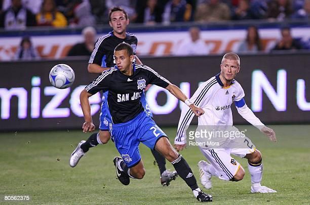 Jason Hernandez of the San Jose Earthquakes chases down the ball during the MLS soccer match against the Los Angeles Galaxy at Home Depot Center on...