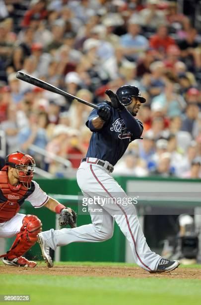 Jason Heyward of the Atlanta Braves bats against the Washington Nationals at Nationals Park on May 4 2010 in Washington DC