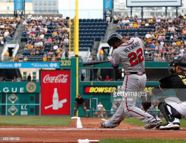 Jason Heyward of the Atlanta Braves hits a home run in the first inning against the Pittsburgh Pirates during the game at PNC Park on August 18 2014...