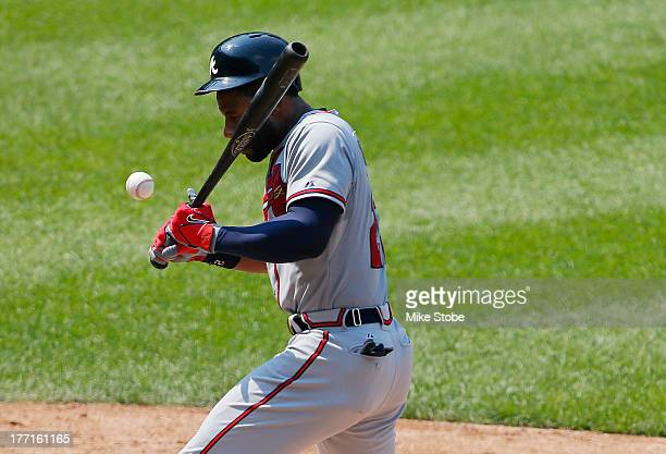 Jason Heyward of the Atlanta Braves is hit in the face with a pitch from Jonathon Niese of the New York Mets in the fifth inning at Citi Field on...
