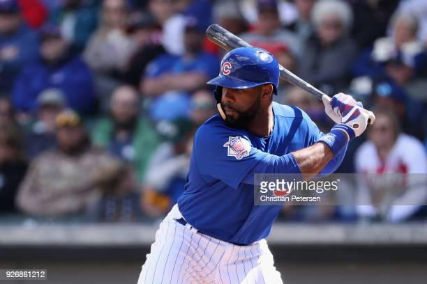 Jason Heyward of the Chicago Cubs bats against the Oakland Athletics during the spring training game at Sloan Park on February 28 2018 in Mesa Arizona