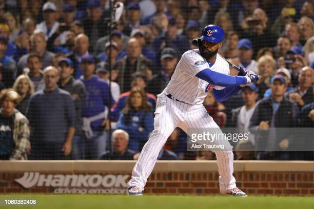 Jason Heyward of the Chicago Cubs bats during the National League Wild Card game against the Colorado Rockies at Wrigley Field on Tuesday October 2...