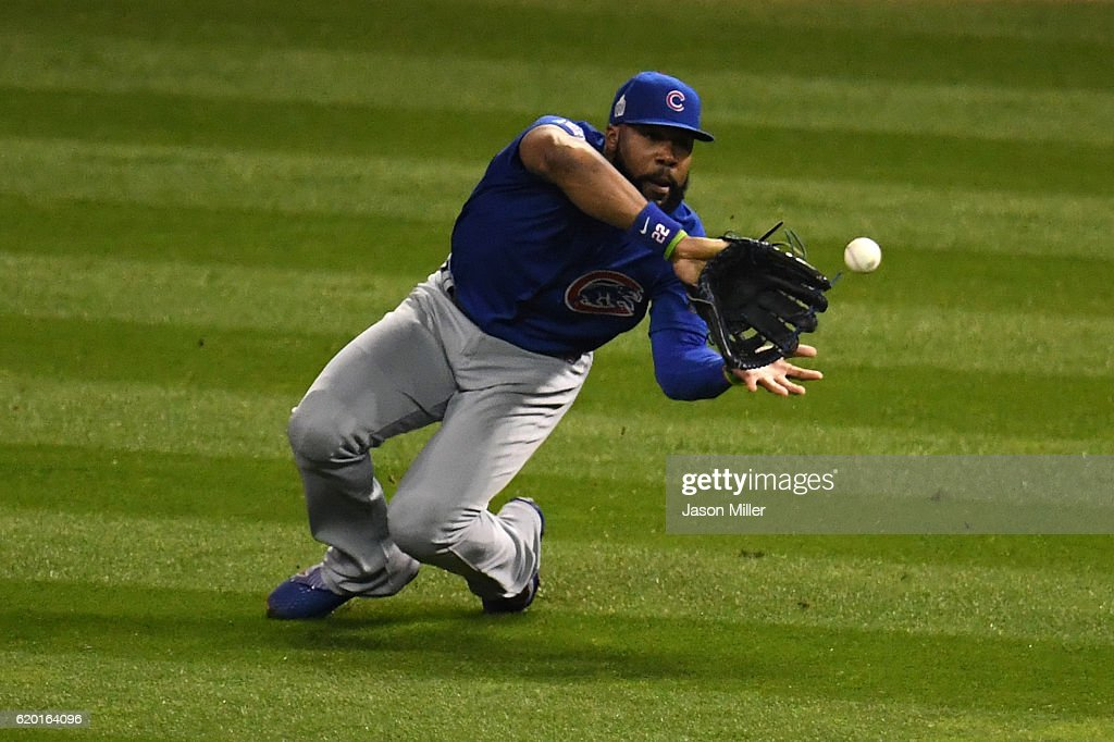 Jason Heyward #22 of the Chicago Cubs catches a ball hit by Jose Ramirez #11 of the Cleveland Indians (not pictured) during the fourth inning in Game Six of the 2016 World Series at Progressive Field on November 1, 2016 in Cleveland, Ohio.