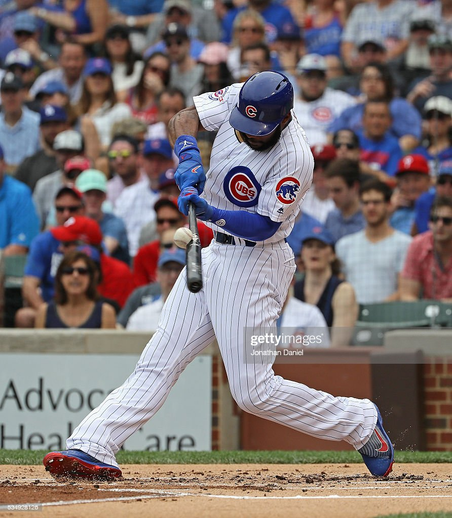 Jason Heyward #22 of the Chicago Cubs hits a double in the 1st inning against the Philadelphia Phillies at Wrigley Field on May 28, 2016 in Chicago, Illinois.