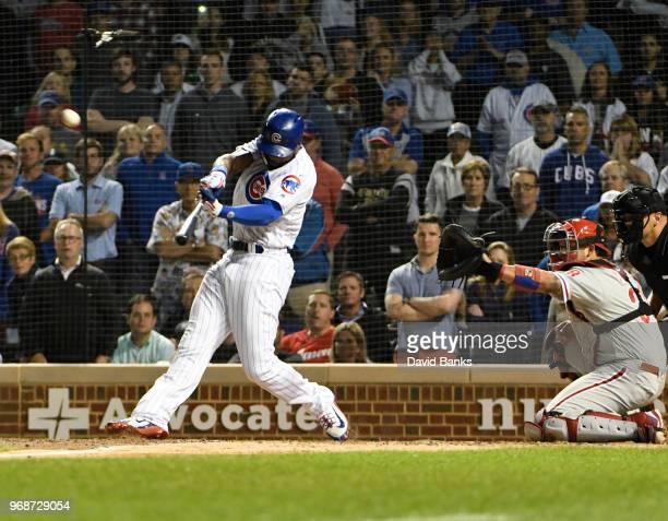 Jason Heyward of the Chicago Cubs hits a walkoff grand slam home run against the Philadelphia Phillies during the ninth inning on June 6 2018 at...