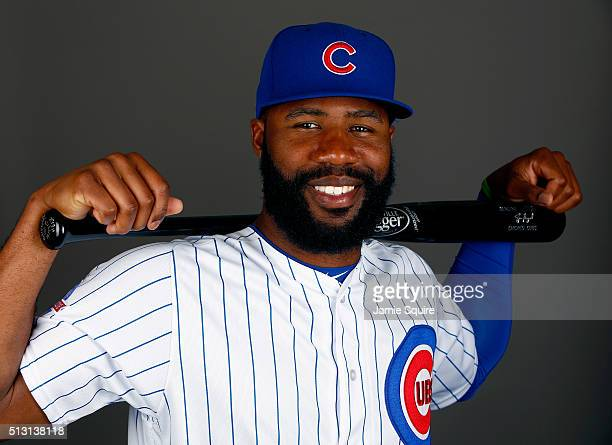 Jason Heyward of the Chicago Cubs poses during a spring training photo shoot on February 29 2016 in Mesa Arizona
