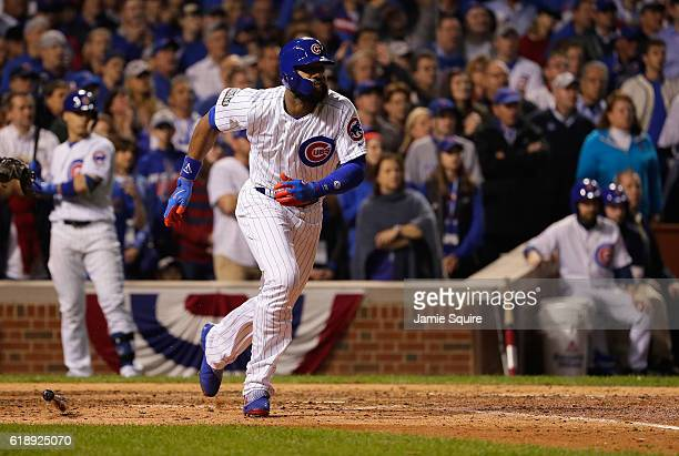 Jason Heyward of the Chicago Cubs reaches on an error in the ninth inning against the Cleveland Indians in Game Three of the 2016 World Series at...
