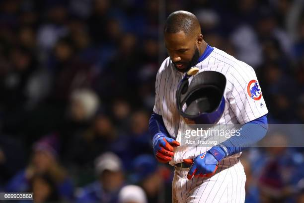 Jason Heyward of the Chicago Cubs reacts after striking out during the game against the Los Angeles Dodgers at Wrigley Field on Wednesday April 12...