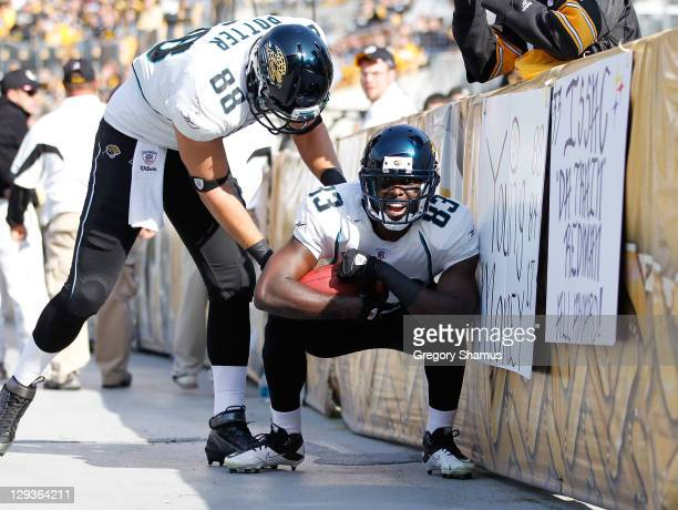Jason Hill of the Jacksonville Jaguars celebrates a third quarter touchdown with Zach Potter while playing the Pittsburgh Steelers at Heinz Field on...