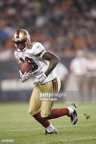Jason Hill of the San Francisco 49ers makes a reception during the NFL game against the Chicago Bears at Soldier Field on August 21 2008 in Chicago...