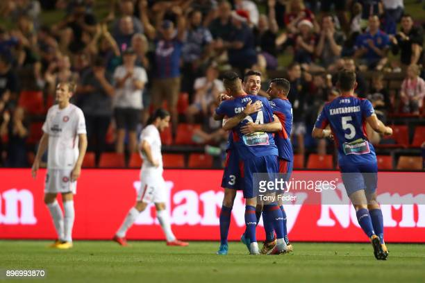 Jason Hoffman of the Jets celebrates a goal during the round 12 ALeague match between the Newcastle Jets and the Western Sydney Wanderers at McDonald...
