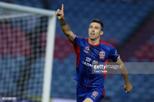 Jason Hoffman of the Jets celebrates a goal during the round 16 ALeague match between the Newcastle Jets and the Brisbane Roar at McDonald Jones...