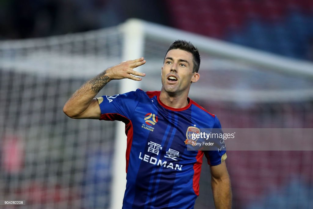 Jason Hoffman of the Jets celebrates a goal during the round 16 A-League match between the Newcastle Jets and the Brisbane Roar at McDonald Jones Stadium on January 12, 2018 in Newcastle, Australia.
