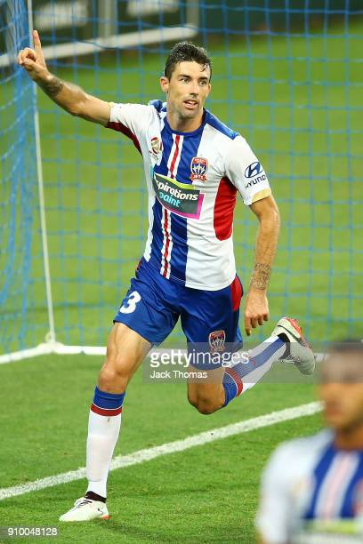 Jason Hoffman of the Jets celebrates a goal during the round 18 ALeague match between Melbourne City FC and the Newcastle Jets at AAMI Park on...